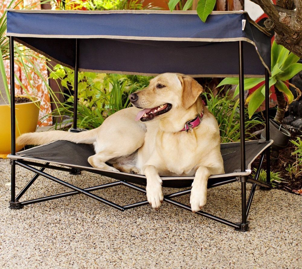 Dog Bed Canopy Sun Shade Umbrella Folding Pet Cot Portable Elevated Raised  Cool