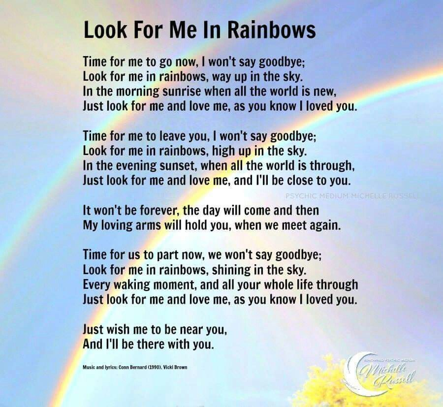 Look For Me In Rainbows Funeral Quotes Funeral Poems