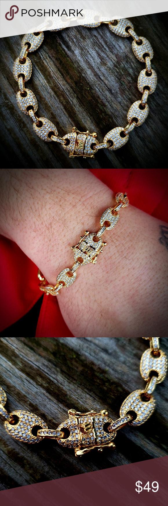 14k Gp Lab Diamond Hermes Gucci Link 8 Bracelet Lab Diamonds Bracelets Link Bracelets