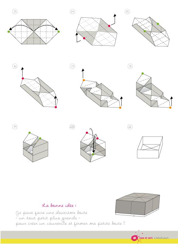 Rose Et Vert Diy Boite De Rangement Origami Origami Pinterest