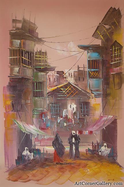 Oil paintings  Iraqi neighborhood