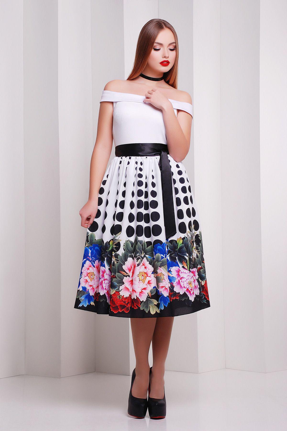 e026992f276 Платье на весну-лето с облегающим верхом и свободной юбкой ниже колен.  Пион-горох платье Эмми б р. Цвет  принт