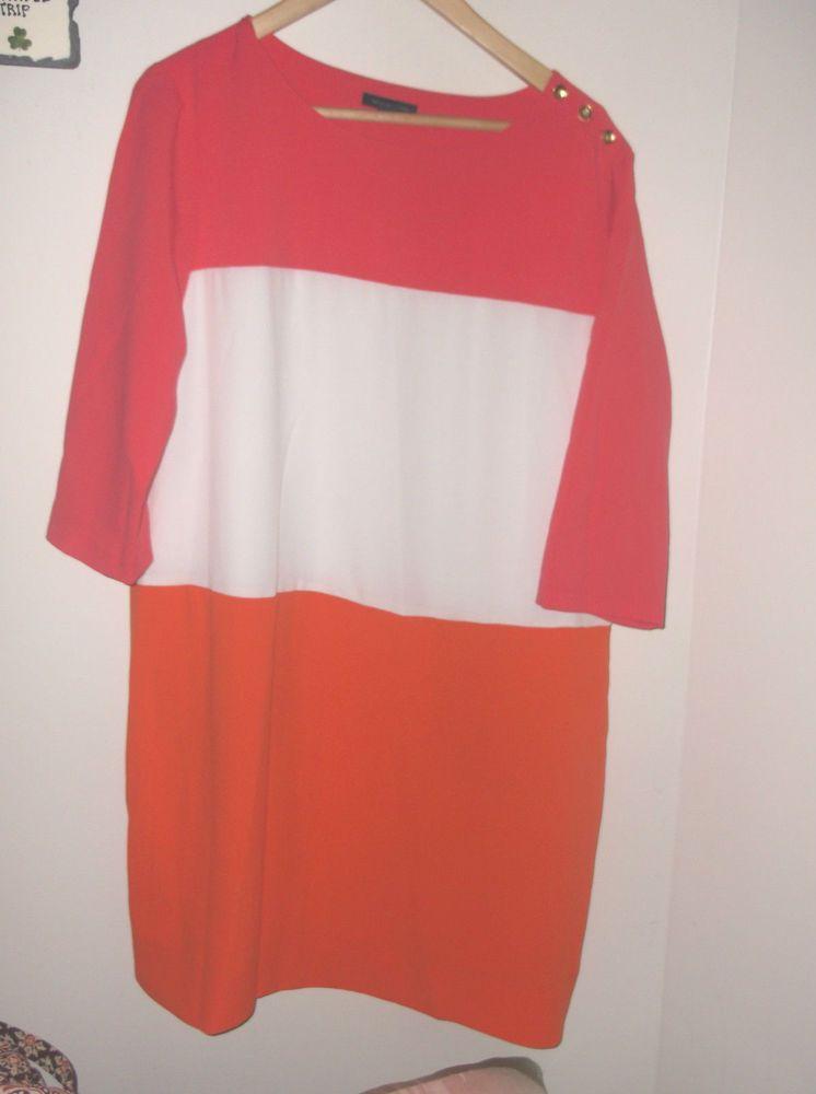 TOMMY HILFIGER COLOR BLOCK PINK WHITE ORANGE DRESS XL NWT $129.50 #TommyHilfiger #Tunic
