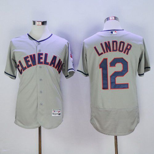 Men s Cleveland Indians  12 Francisco Lindor Gray Road 2016 Flexbase  Majestic Baseball Jersey 3da2c31d5