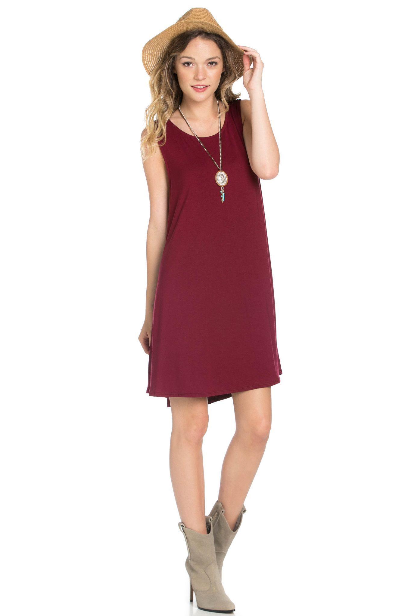 c5edfa899610 The Burgundy Swing Dress Sleeveless Swing Dress