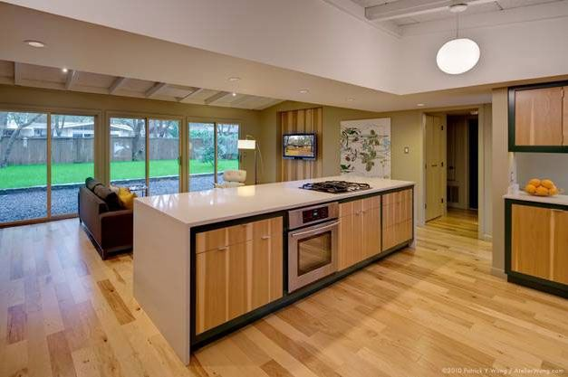 kitchen cabinet with book matched natural hickory veneer doors and drawer fronts from taylorcraft cabinet door