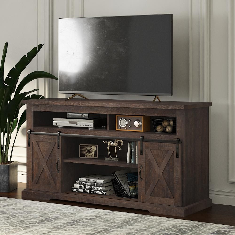 Farmhouse TV Stand with Sliding Barn Door & Adjustable Shelves, Wood Storage TV Cabinet for Living Room, Entertainment Center - Rustic Brown