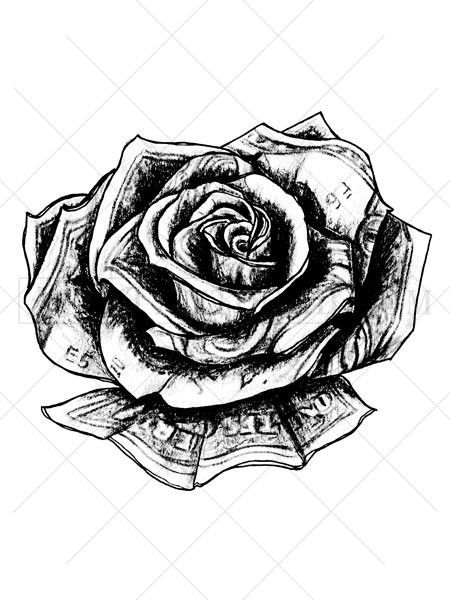 This unique rose tattoo appears to be made out of US ... - photo#21