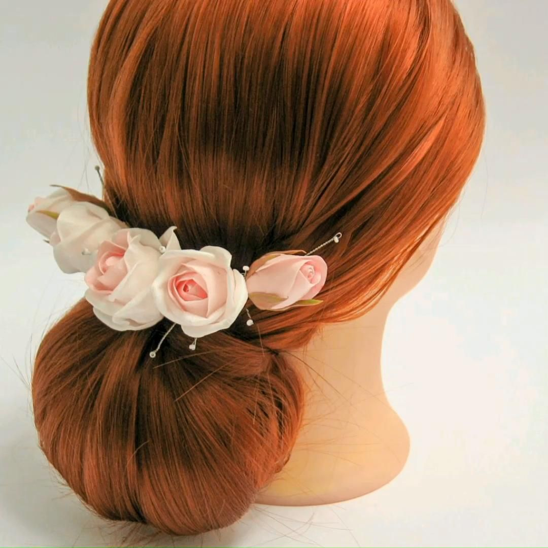 Hairstyle for bride with blush pink hair comb. Elegant, easy to do hairstyle for your celebration.
