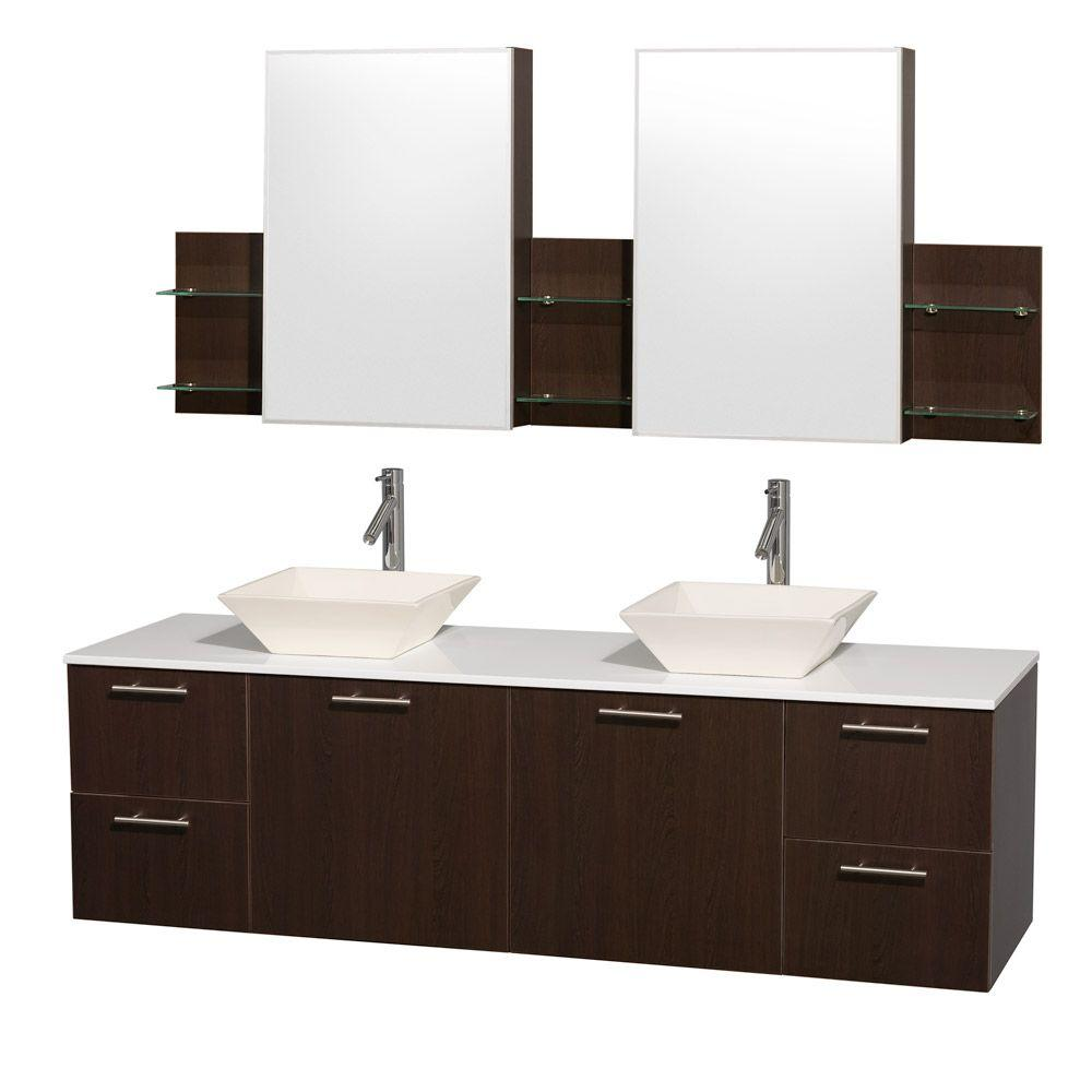 Wyndham Collection Amare 72 In Double Vanity In Espresso With Man Made Stone Vanity Top In White Double Vanity Bathroom Oak Bathroom Vanity Glass Countertops