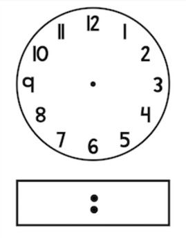 Blackline Clip Art Clock Template Analog And Digital Clock