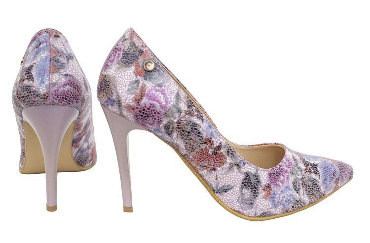 Czolenka Roseti Na Wygodnej Szpilce Skorzane Buty Damskie Z Kwiatowym Wzorem Heels Stiletto Stiletto Heels
