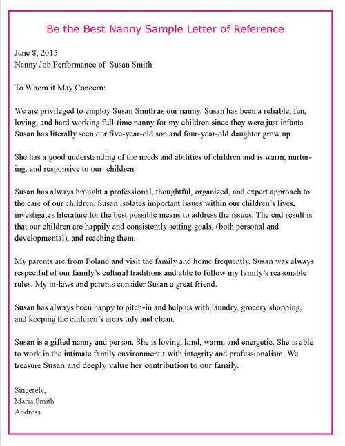 SAMPLE REFERENCE LETTER letters of recommendations Pinterest - nanny cover letter
