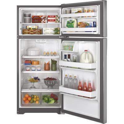 Ge 15 5 Cu Ft Top Freezer Refrigerator In Stainless Steel