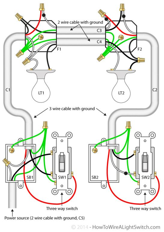 Diagram 3 Way Switch With Power Feed Via The Light Switch Two