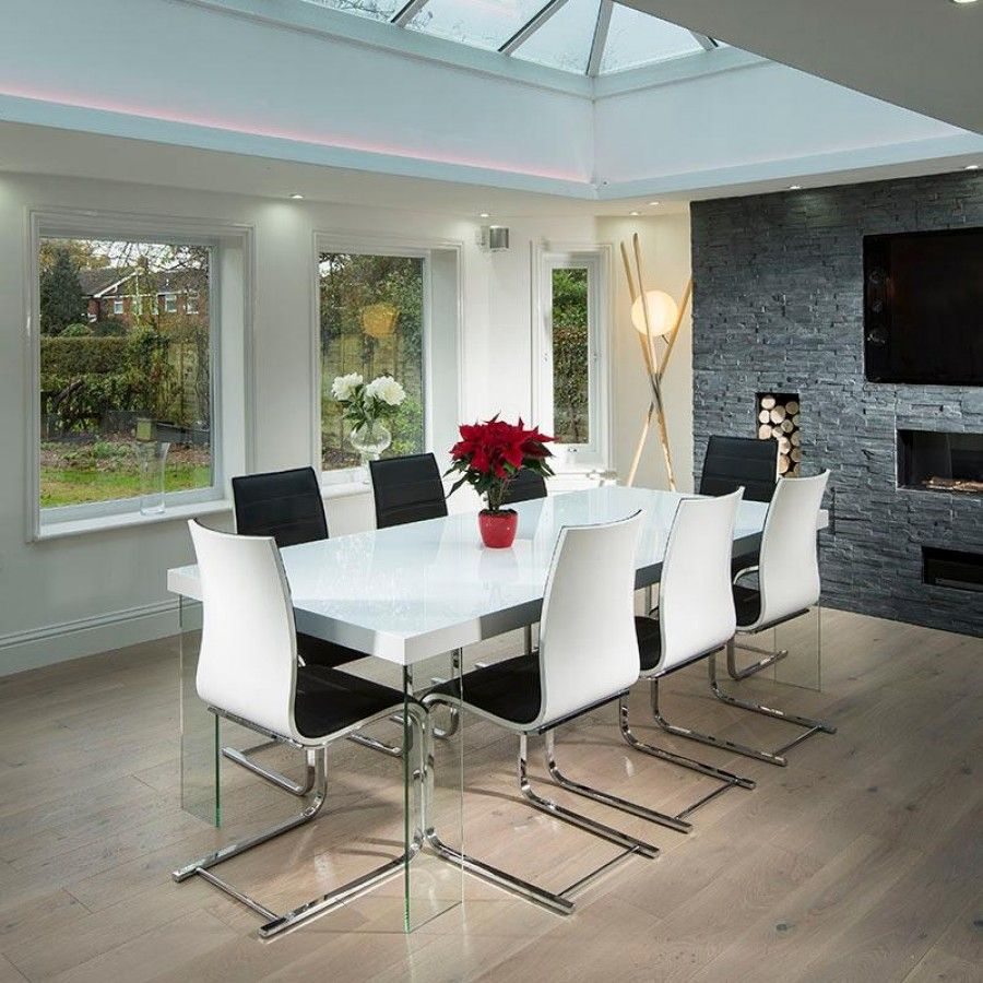 Massive Dining / Boardroom Set High Gloss White Table + 8 ...