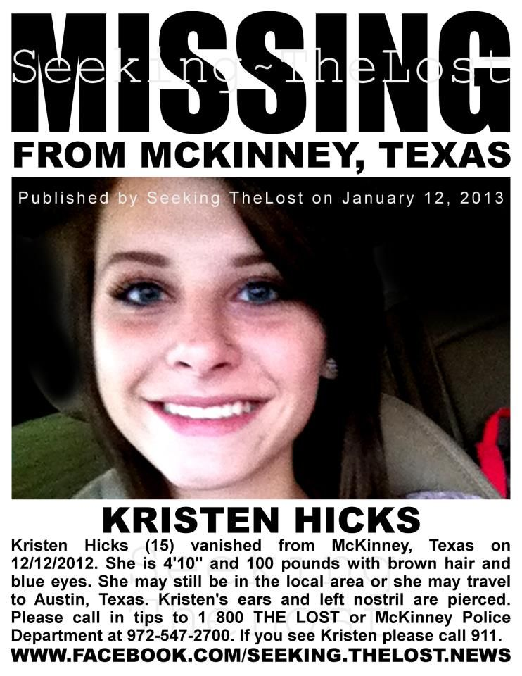 Missingperson 1 12 2013 Please Share To Locate Kristen Hicks