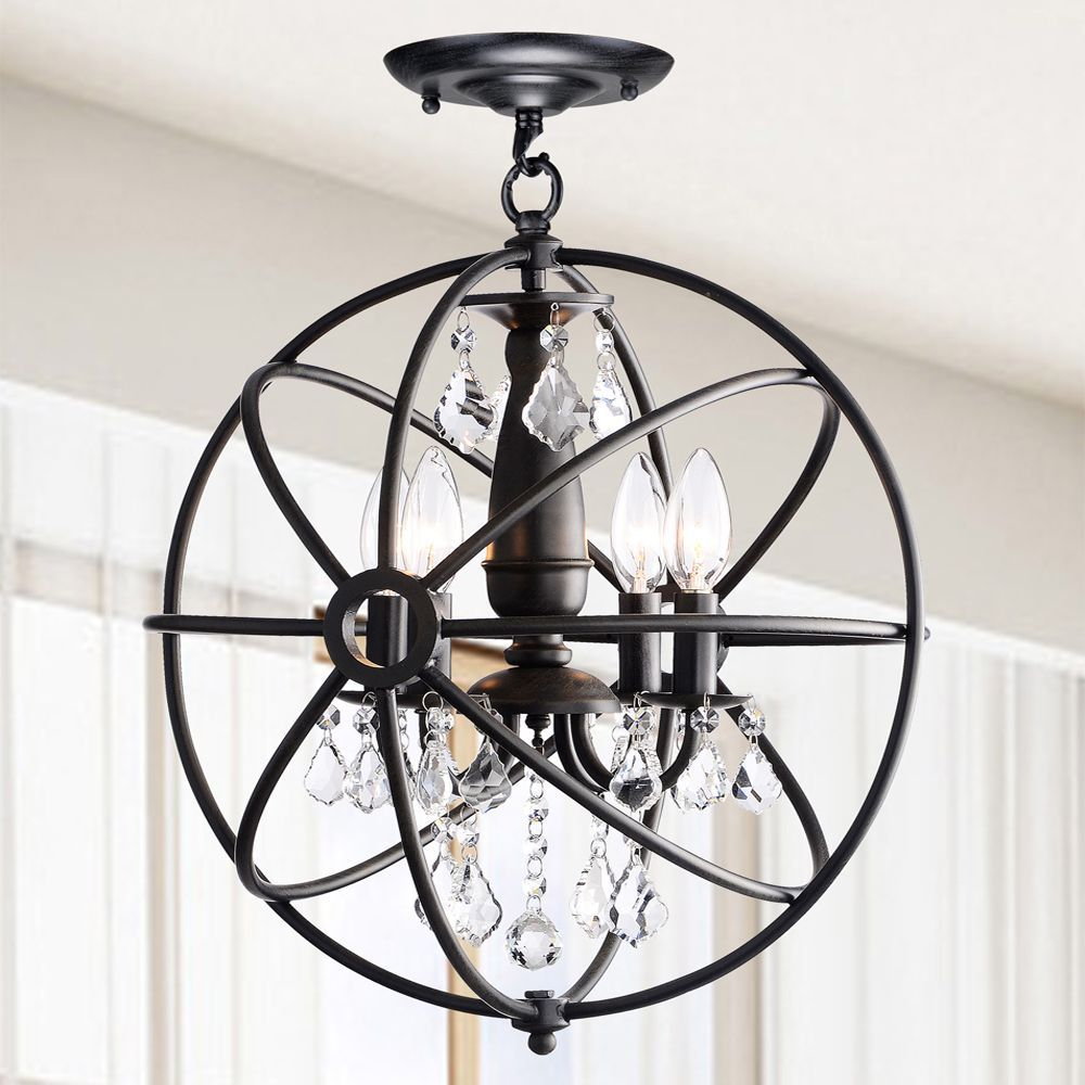 This Unique Indoor Chandelier Gives A Modern Classy Touch To Any Room An Iron Orb With Antique Black Finish Encases Four Light Dangling