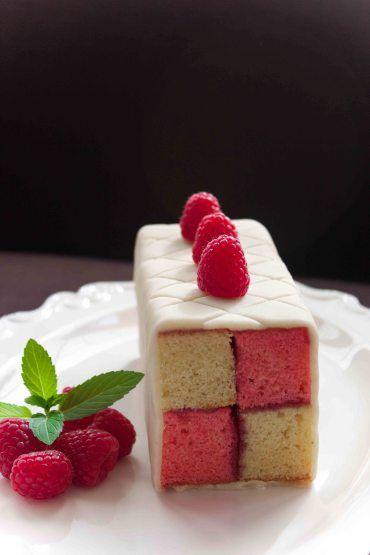 Raspberry Battenberg Cake.