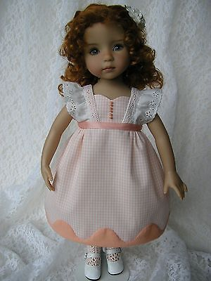 "Peach dress for 13"" Dianna Effner Little Darling doll handmade Tomi Jane"