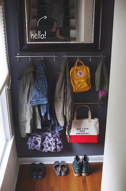 Easy Inexpensive Coat Storage For A Small Space Coat Storage Small House Storage Small Space Storage