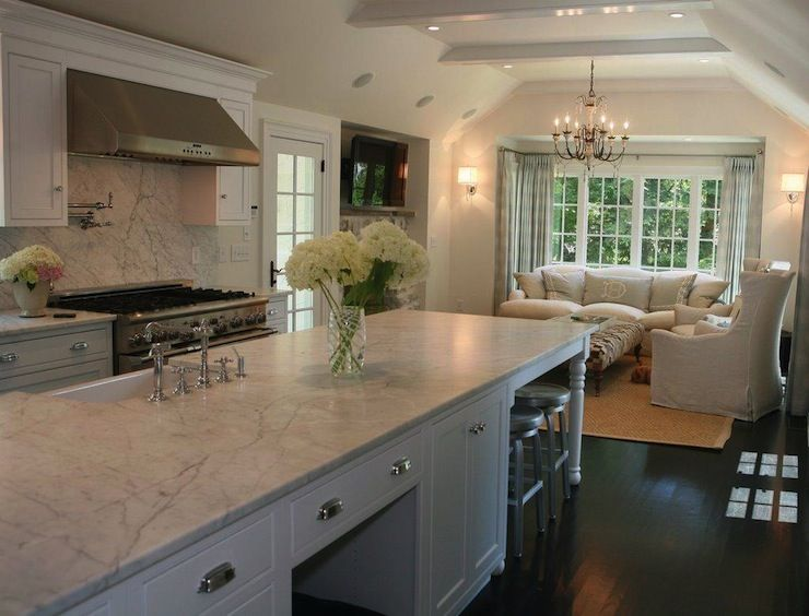 White Kitchen Family Room gorgeous kitchen opens up into family room with vaulted ceiling