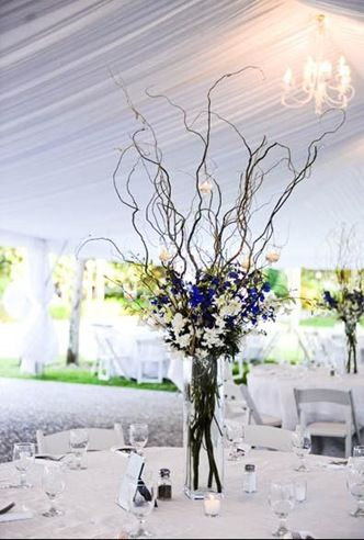 Centrepieces Glass Vase Twigs Blue And Cream Flowers With