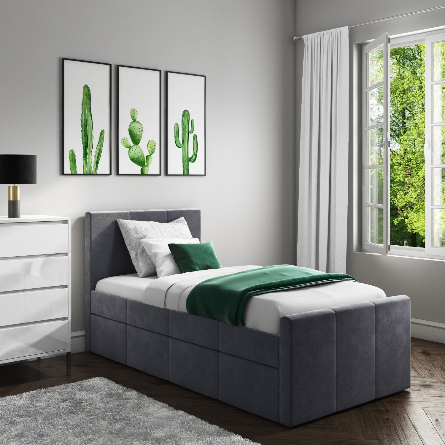 Layla Velvet Guest Bed in Grey Trundle Bed Included