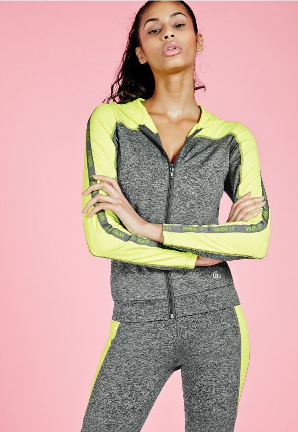 No workout kit is complete without a hoodie! We've got our sights set on this grey beaut, featuring contrasting lime inserts to the sleeves and standout WRK IT slogan. With a zip fastening and hooded finish, team up with the matching leggin...