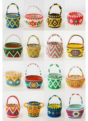 Miniature hama bead baskets - LOVE!!!! (Click through the links, and there's some tutorials.)