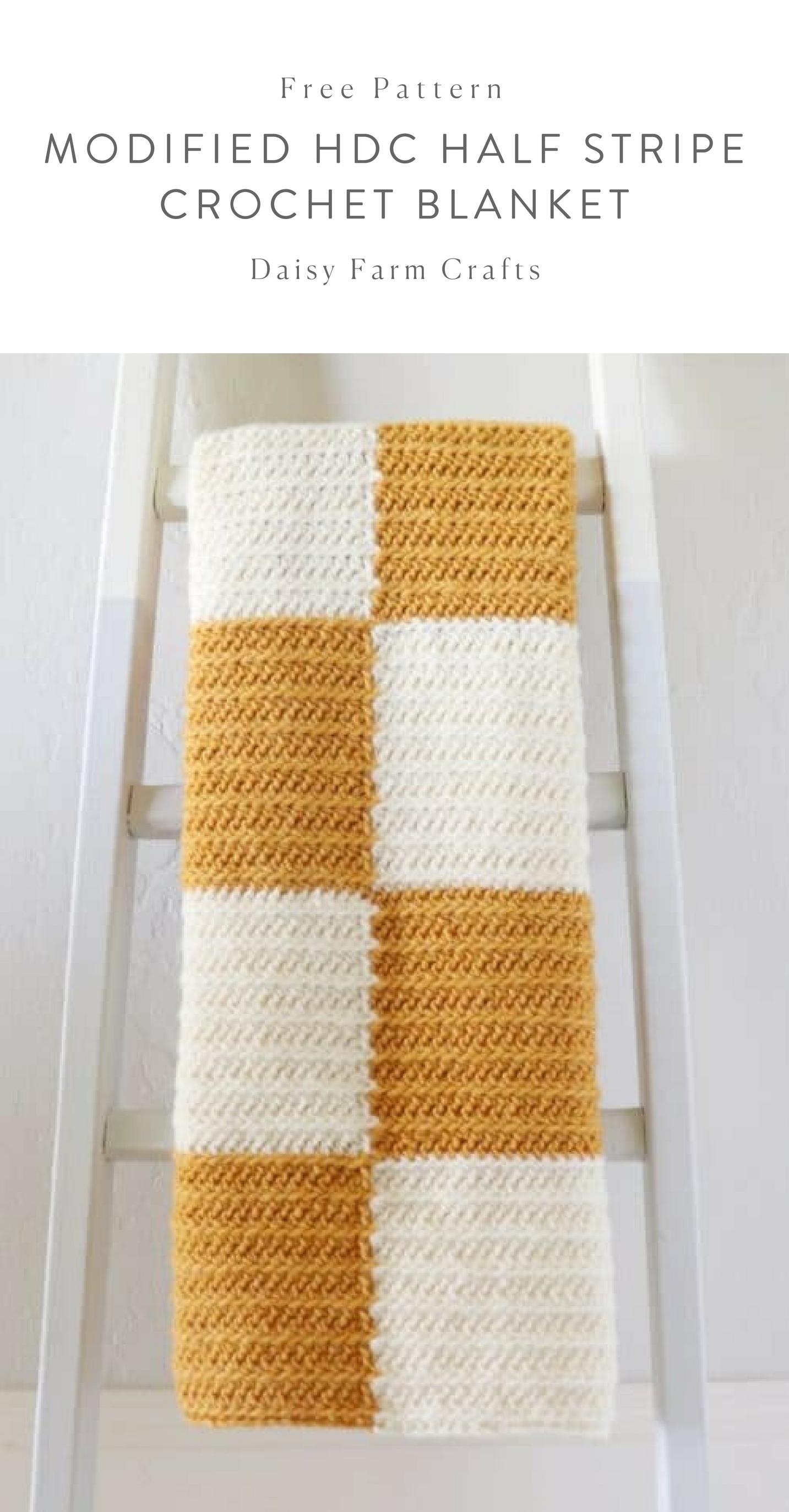 Free Pattern - Modified HDC Half Stripe Crochet Blanket #crochet ...