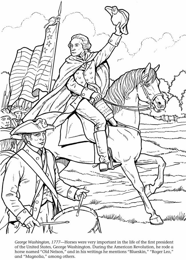 George Washington 1777 Printable Horse Coloring Pages Coloring