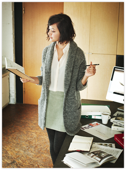 I love the comfy warm look of this outfit. Could get a lot of work done in this.