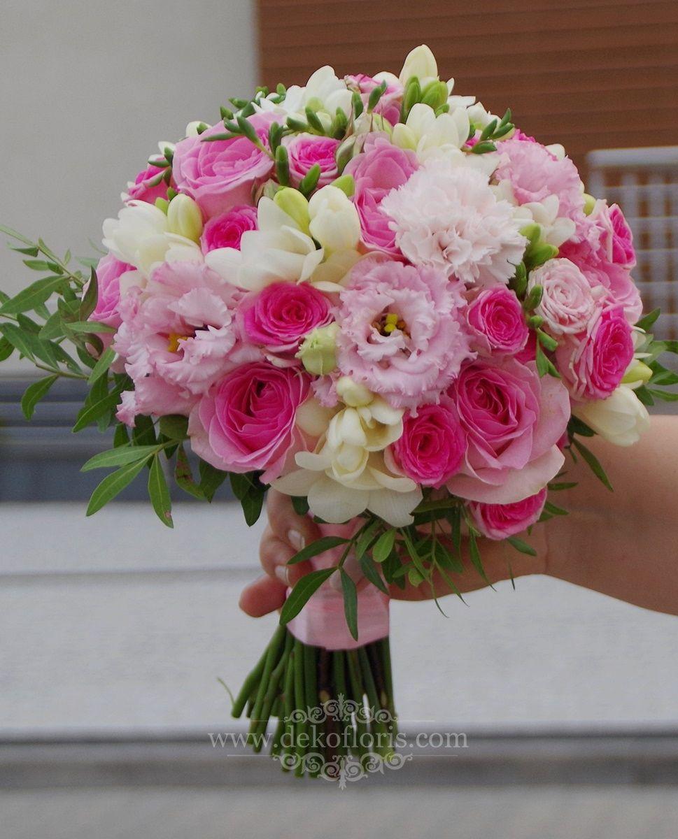 Rozowy Bukiet Slubny Roze Frezje I Eustoma Bridal Bouquet Flowers Spring Wedding Bouquets Pink Spring Wedding Bouquets