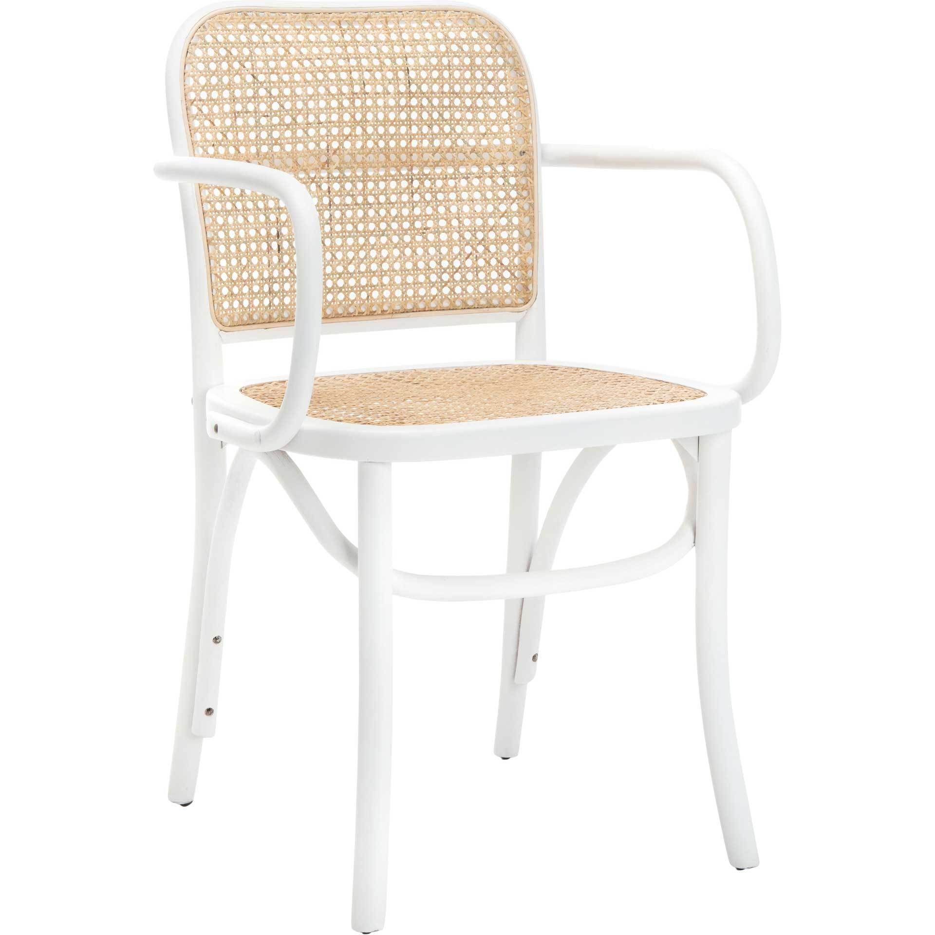 Keanu Cane Dining Chair White Natural Cane Dining Chairs Solid Wood Dining Chairs White Dining Chairs White and natural kitchen chairs