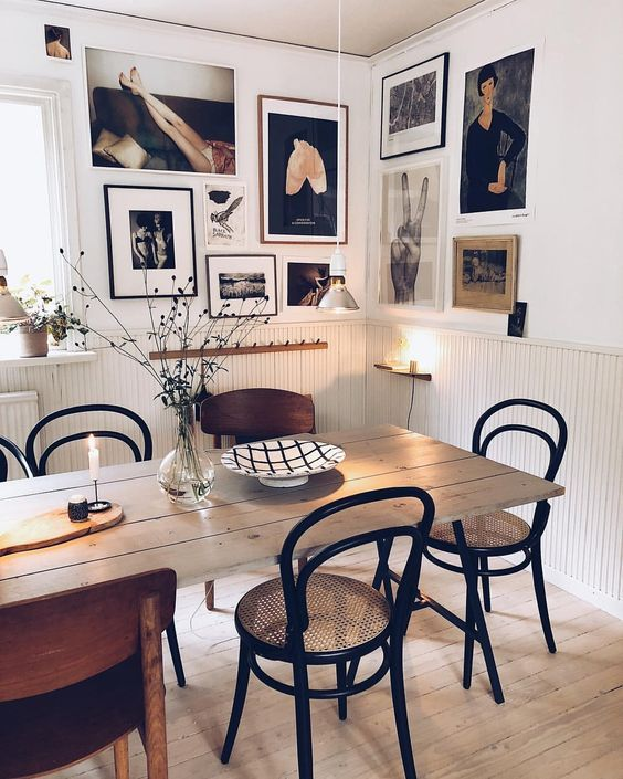 Modern Scandinavian Design Interior Dining Area With Painting Wall In 2020 Boho Dining Room Dining Room Wall Decor Stylish Room