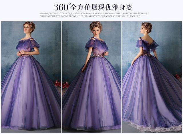 100%real purple flower beading waist ruffle Medieval Renaissance gown Sissi princess  dress Victorian dress Marie  Belle Ball d9114d517fc6