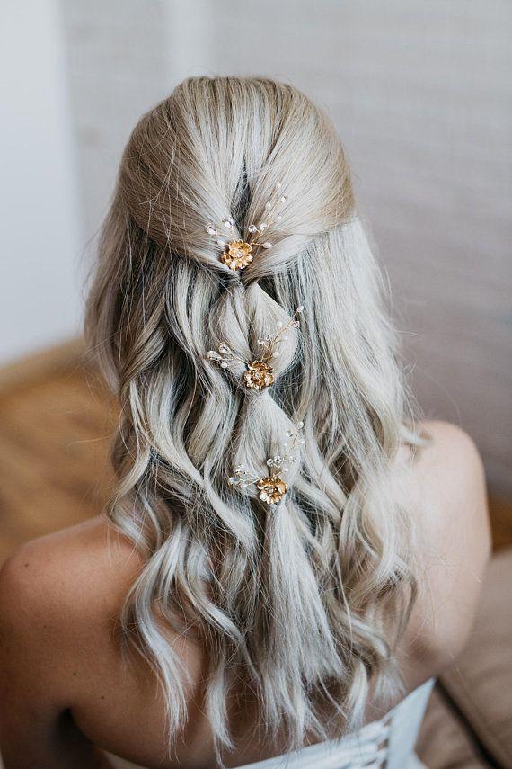 Gold Leaf Bridal Hair Pin   Gold Flower Hair Comb   Petite Bridal Wedding Hair Pin   Gold Wedding Hair Comb   Clover Hair Pin