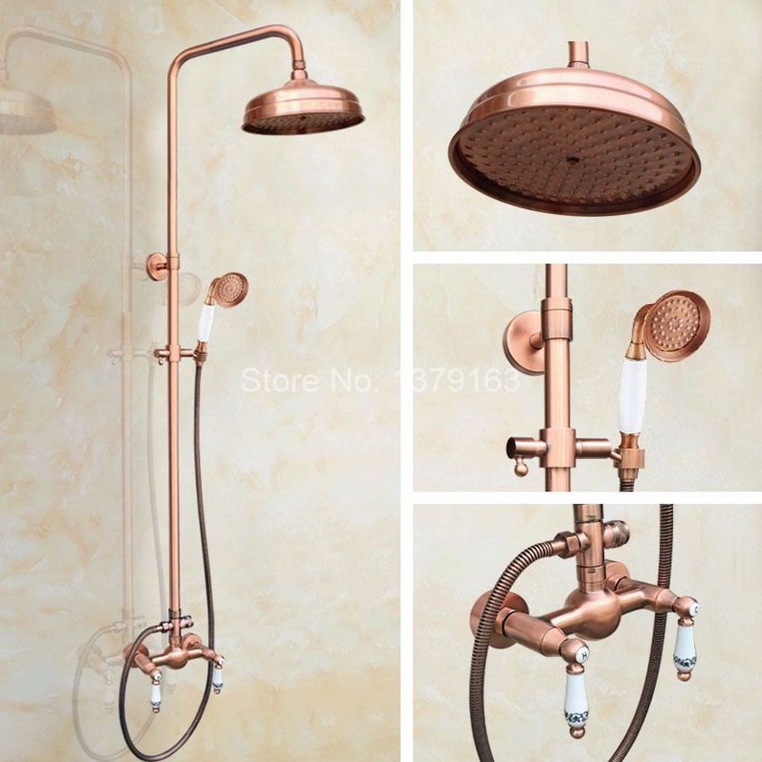 Antique Red Copper Wall Mounted Rainfall Bathroom 8\