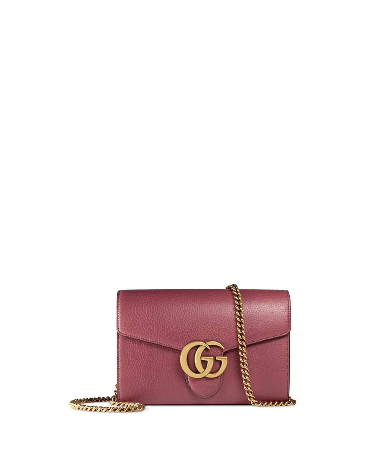 6f2fc5e2cbda Gucci Interlocking GG Marmont Leather Wallet-on-Chain, Rose (Pink ...