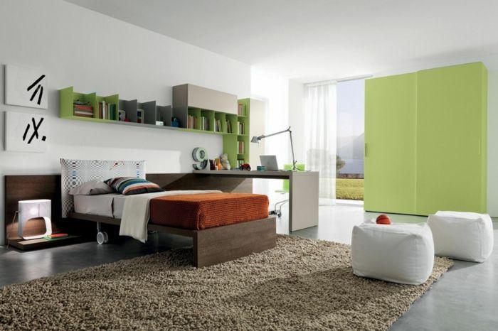 kinderzimmer einrichten grüner kleiderschrank beiger teppich weiße - teppich babyzimmer beige