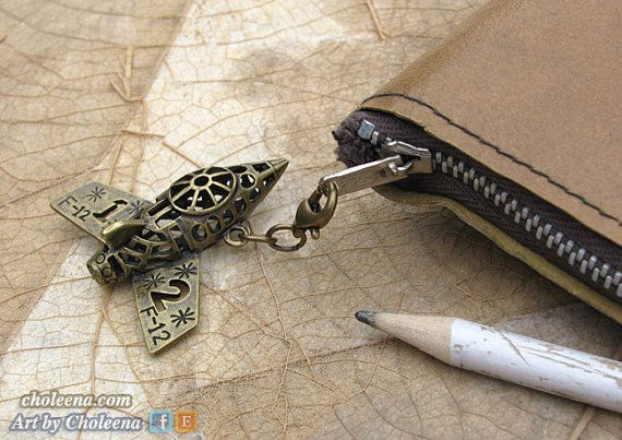 Airplane Zipper Pull Steampunk Cell Phone Charm by ArtByCholeena