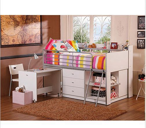 White Twin Loft Bed Desk Bedroom Furniture Set Children Kid