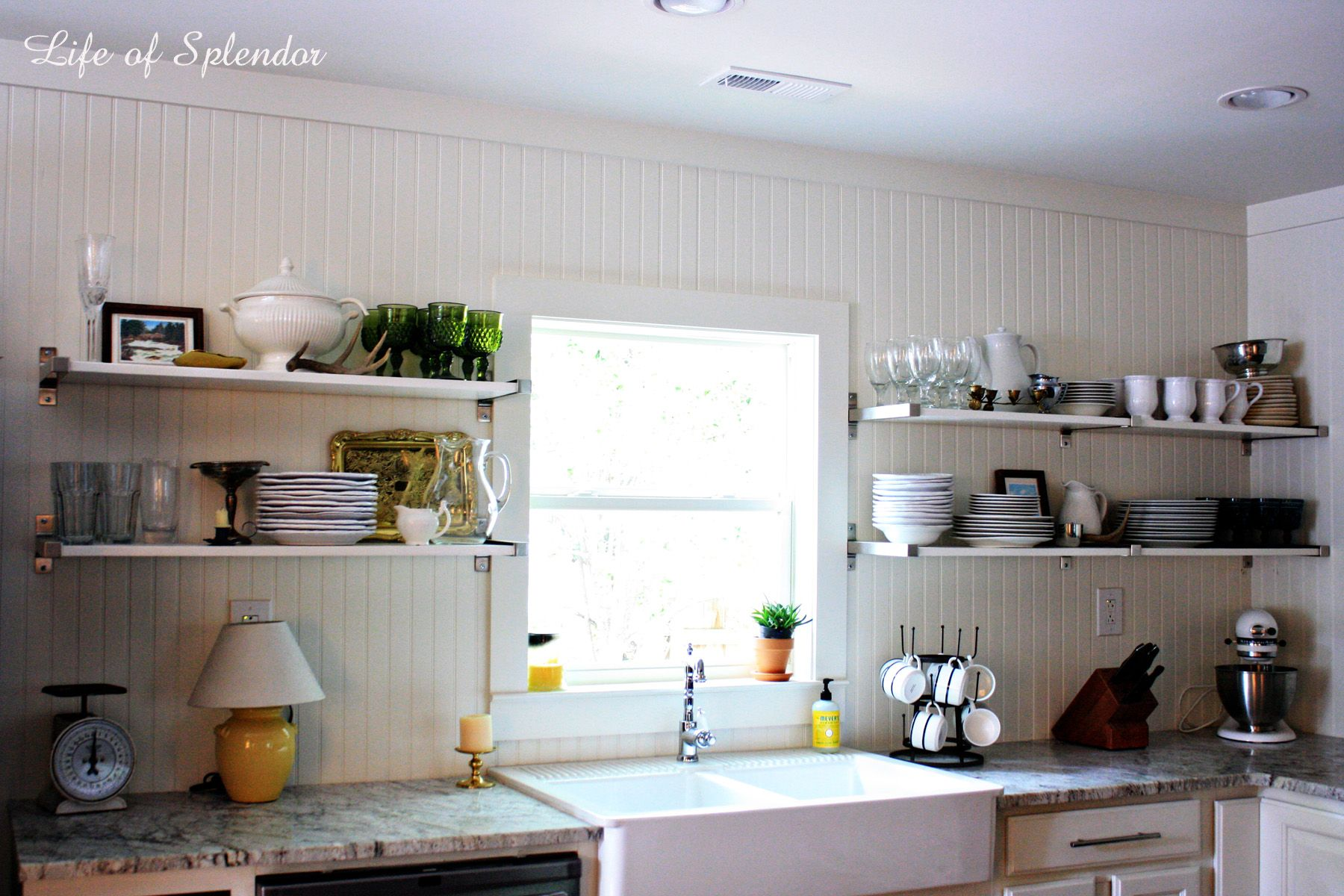 Open Shelving in the Kitchen and Some Updates | Open shelves, Open on white galley kitchen design ideas, stove kitchen design ideas, open galley kitchen remodel, walk in closet design ideas,