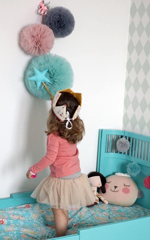 Chambre Enfant Fille Lit Vintage Pompom Bleu Turquoise Gris Rose Chambre Enfant Idee Deco Chambre Enfant Deco Enfant