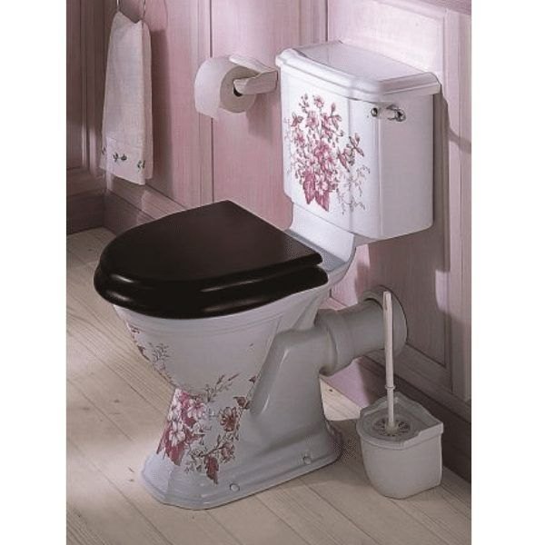 Oxford Blue Decorated Close Coupled Toilet By Old Fashioned
