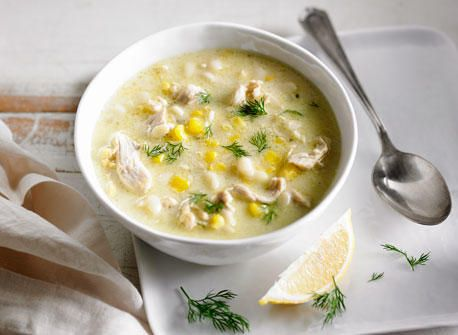Creamy Orzo, Corn and Chicken Soup