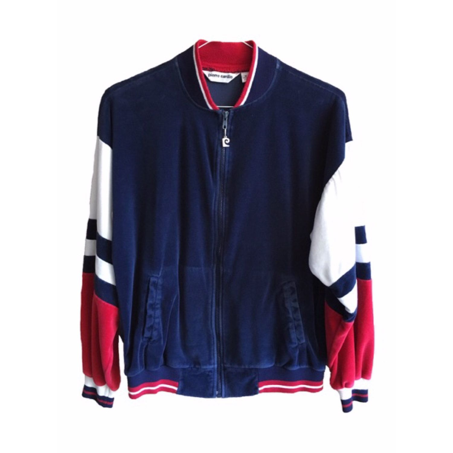 Pierre Cardin Track Jacket Cotton Sweater Zip Up Red White Etsy Clothes Cotton Sweater Track Jackets