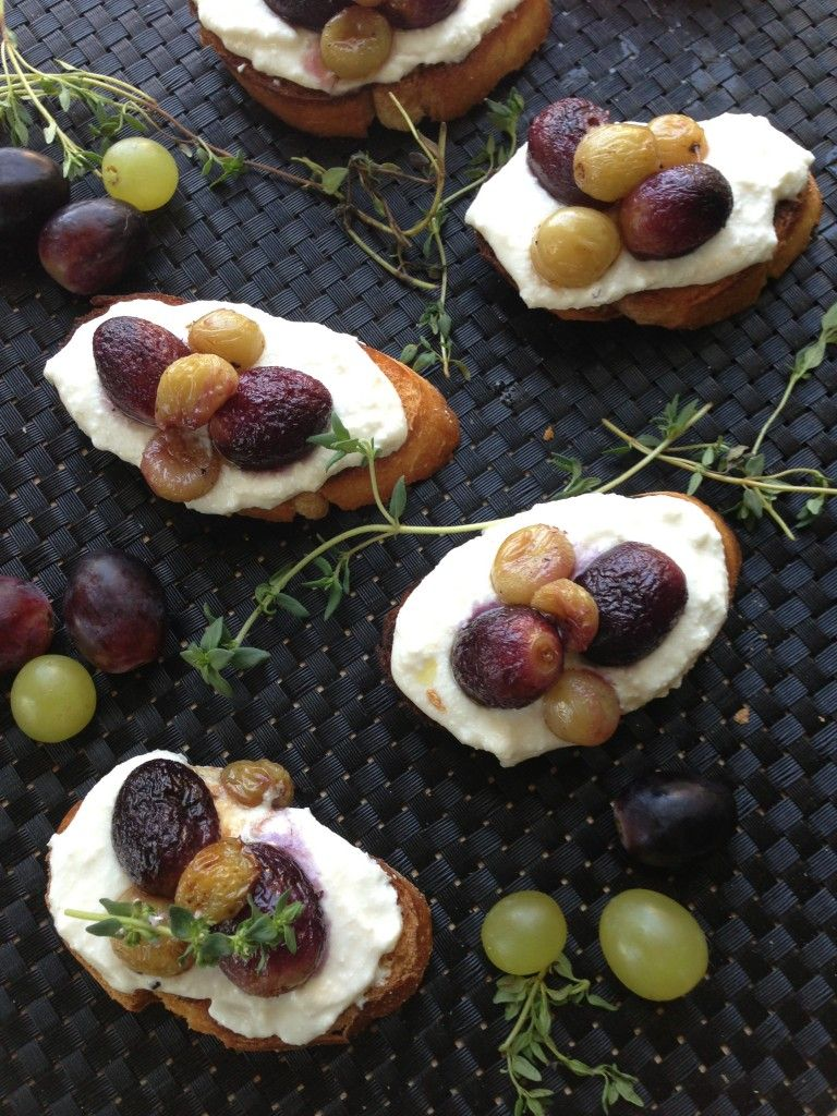 roasted grapes and ricotta crostini. so, so yum
