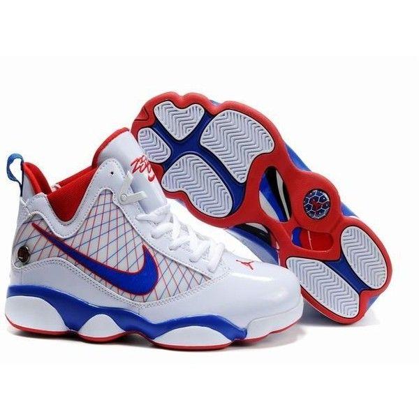 pick up e4318 31425 jordan 13 lebron 7 red white blue shoes ($76) ❤ liked on ...